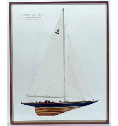 Framed Shamrock V Half Model with Sails by Abordage