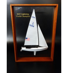 International Lightning Class framed half model