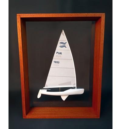 Finn Dinghy (4,5 mts) Custom Framed Half Model with sails and mast