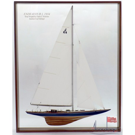 Framed Endeavour I Half Model with Sails by Abordage