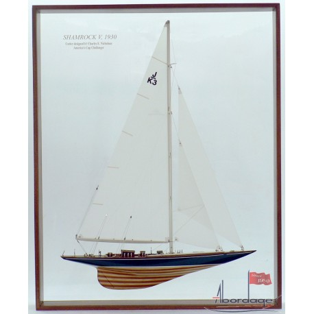 Framed Shamrock V Half Model with Sails by Abordage